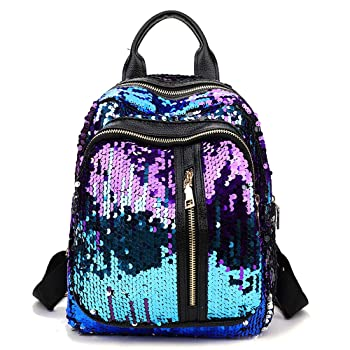 Chiclinco Mini Sparklely Mermaid Sequin Backpack Rucksack Schoolbag for Women Teenage Girls (Purple & Blue)