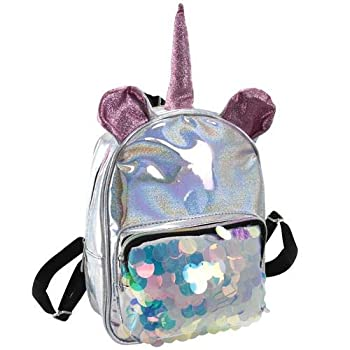 Glitter Material Unicorn Backpack with large sequin pocket- Pink & Purple Ears & Horn Asst