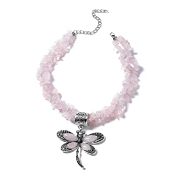 Shop LC Delivering Joy Galilea Rose Quartz Dragonfly Pendant with Necklace 18 in Black Oxidized Silvertone